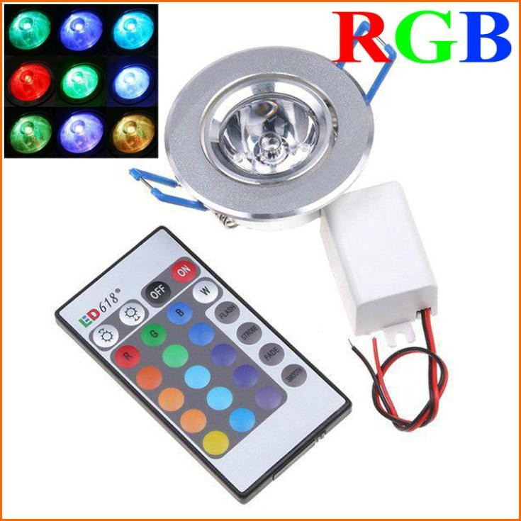 5PCS High Brightness 3W 1-LED RGB led Downlight Ceilinglight downLamp Spot light Remote Control ceiling lamp Lighting