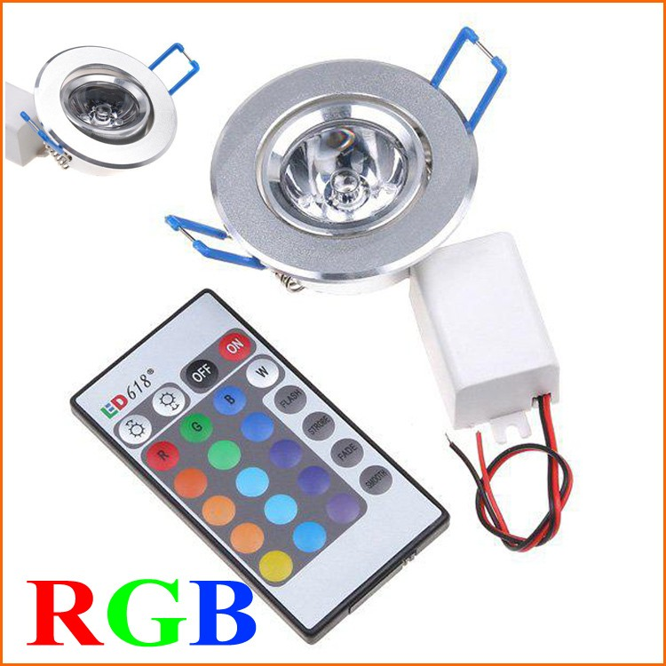 5pcs Free Shipping RGB Ceiling Led Recessed light Spotlight AC85~265V CE & RoHS Multi Colors Changing with Remote