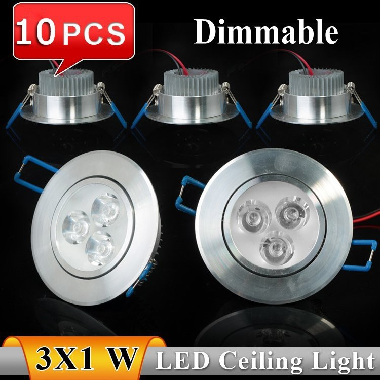 10pcs/lot High Brightness Cree 3w 6w led downlight Silver shell warm white cool white CE&RoHS Indoor Lighting