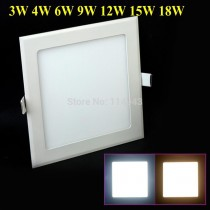 20pcs/lot 3W 4W 6W 9W 12W 15W 18W LED Recessed Ceiling Panel Lamp Down Light Bulb AC 110V 220V Square