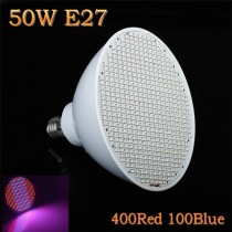 5X New Hydroponics Lighting AC85-265V 50W E27 400:100=Red:Blue SMD 500 LEDS LED Plant Grow Lights Led Bulb Light Growth Lamp