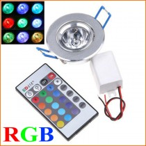 85~265V 3W 1-LED RGB led light lamp Downlight Recessed downLamp Bulb led Spotlight w/ Remote Control ceiling lamp free shipping