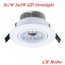 20pcs LED Ceiling Downlight 3x1W 3x2W Round Recessed LED Spotlight Down Light AC85-265V LED Lamp Ceiling Bulb Lights