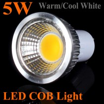 5 pcs High Quality 3W/5w/7w/9w LED COB Spotlight GU10 Silvery AC85-265V Indoor Downlight Home Ceiling Lighting Bulb Lamp