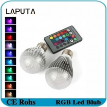 1pcs LAPUTA RGB Led Bulb Light E27 9W 15W Led Lamp AC85-265V with Remote Control 16 colours Led Lighting