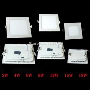 20pcs/lot 3W 4W 6W 9W 12W 15W 18W 2835SMD Warm White Ceiling LED Panel Down Light Bulb Lamp AC90-240V Square