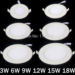 10pcs/lot New 3w/4w/6w/9w/12w/15w/18w Panel Light Super Thin White/LED Ceiling Light Led panel lights