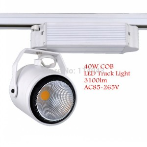 Free Shipping 40W COB LED Track Light High Power 3100lm Tracking Led Spotlight For Store/Shopping Mall Wholesale Retail