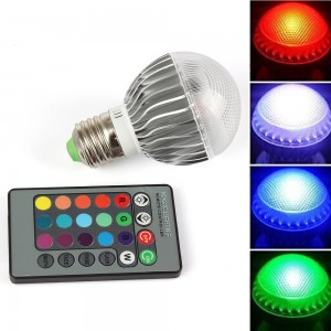 1pcs RGB Led Lamp E27 9W 15W Lampada 110v 220v Led Bulb Halogen Lamp with IR Remote Control for Home